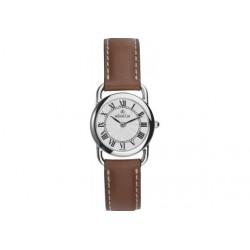 Michel herbelin equinoxe femme acier bracelet cuir marron ref:17477/08go