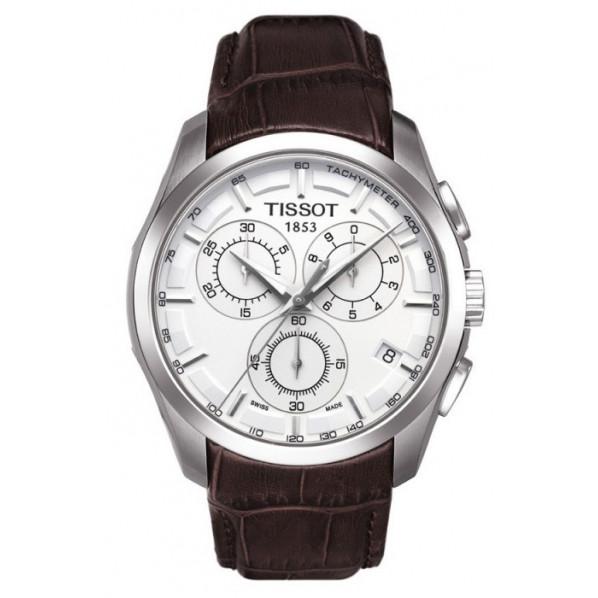 355bc7c0f871c Tissot montre homme quartz chrono cadran blanc bracelet cuir