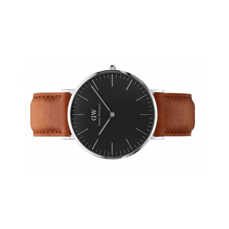 belle couleur prix de gros frais frais DURHAM 40 mm classic acier noir bracelet cuir
