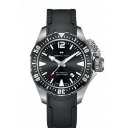 Hamilton Khaki Navi Frogman auto fond noir bracelet caoutchouc