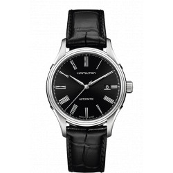 HAMILTON VALIANT 40 MM automatique fond noir bracelet cuir noir