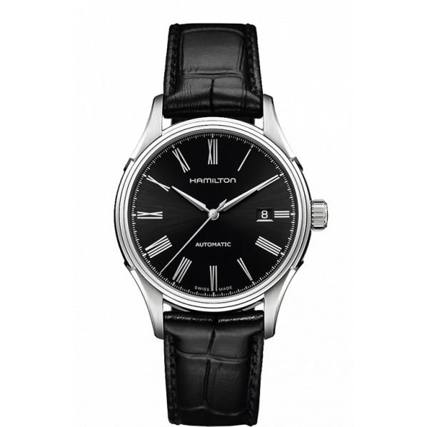 HAMILTON VALIANT 40 MM automatique fond noir bracelet cuir noir