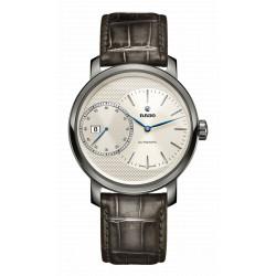 Rado Diamaster automatique grande seconde fond blanc bracelet cuir gris