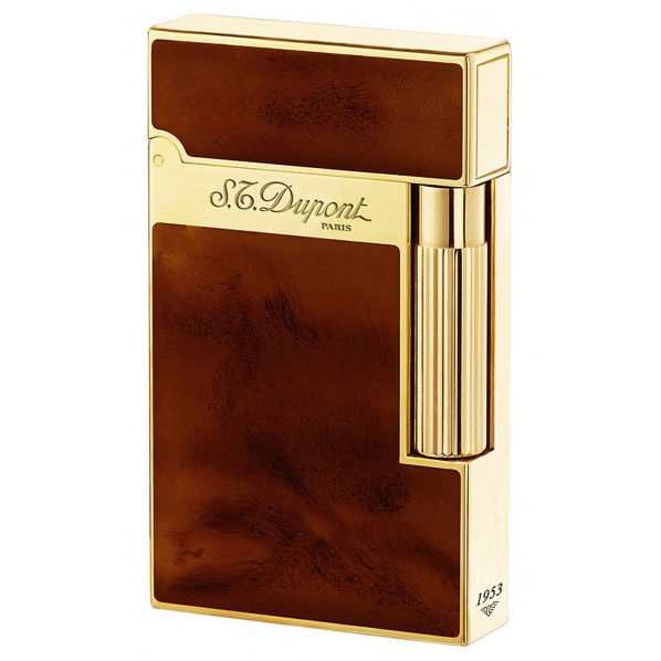 Dupont briquet collection atelier laque de chine marron foncé et or jaune