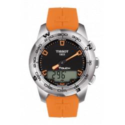 Tissot T-Touch II titanium acier bracelet caoutchouc orange