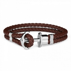 PAUL HEWITT PHREPS bracelet ancre marron cuir