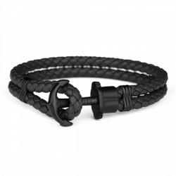 PAUL HEWITT PHREPS bracelet cuir ancre noir