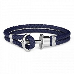 PAUL HEWITT PHREPS bracelet cuir ancre bleu marine