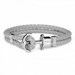 PAUL HEWITT PHREPS bracelet cuir ancre gris