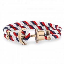 PAUL HEWITT PHREPS bracelet nylon bleu marine-rouge-blanc ancre laiton