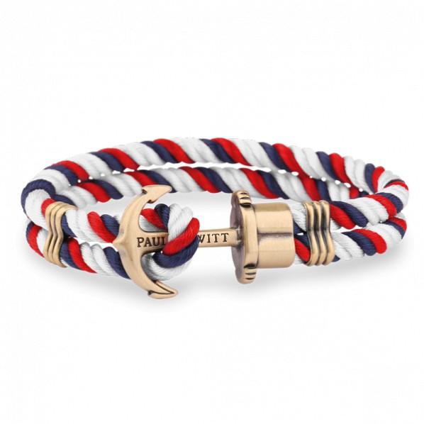 PAUL HEWITT PHREPS bracelet nylon bleu marine,rouge,blanc ancre laiton