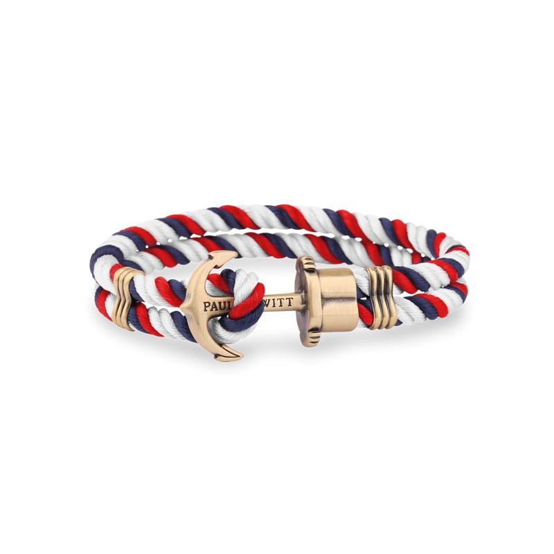bracelet paul hewitt en nylon bleu marine blanc rouge fermeture par une ancre laiton. Black Bedroom Furniture Sets. Home Design Ideas