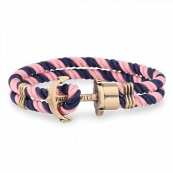 PAUL HEWITT PHREPS bracelet nylon bleu marine-rose ancre laiton
