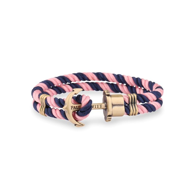 bracelet paul hewitt en nylon bleu marine rose fermeture par une ancre laiton. Black Bedroom Furniture Sets. Home Design Ideas