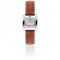 Michel herbelin 5e avenue femme carre bracelet cuir marron ref:17037/01go