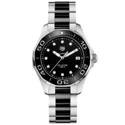 Tagheuer Aquaracer 300 M femme index diamants quartz bracelet acier/céramique 35 mm