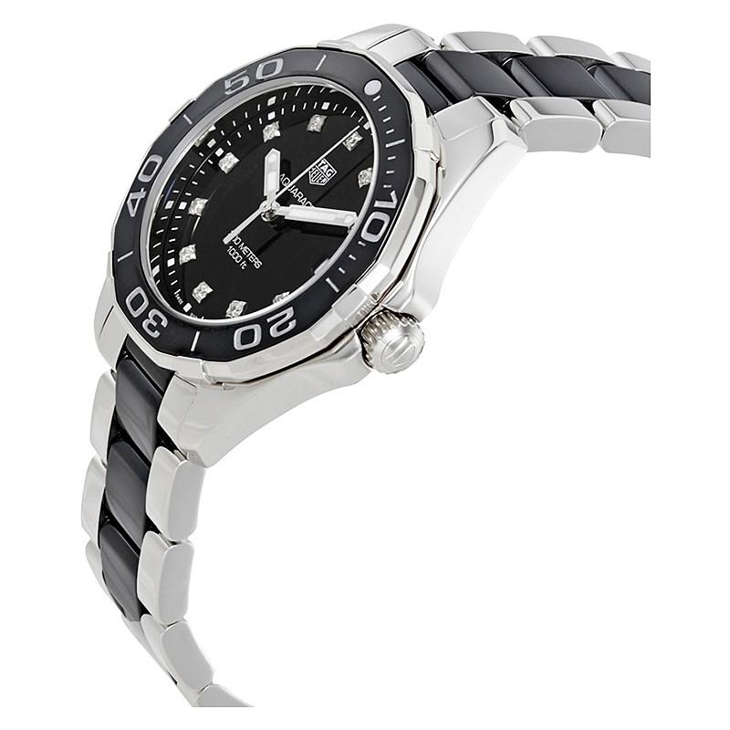 05bb85ed0ac Tagheuer Aquaracer 300 M femme index diamants quartz bracelet  acier céramique 35 mm