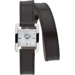 Michel herbelin 5e avenue femme carré acier bracelet double cuir marron fonce ref:17037/19cho