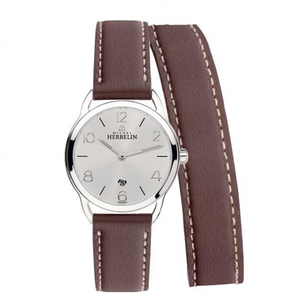 Michel herbelin equinoxe femme acier bracelet double cuir marron ref:16977/12LMA
