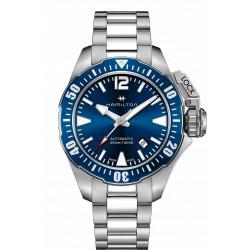 Hamilton Khaki Navi Frogman auto fond bleu bracelet acier