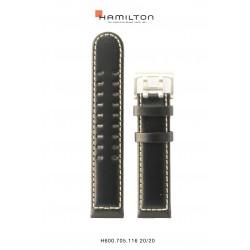 HAMILTON BRACELET CUIR noir khaki field 20 mm