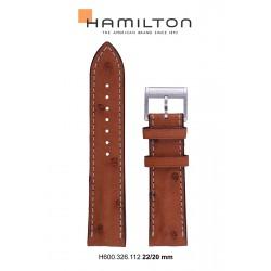HAMILTON BRACELET CUIR BRUN CLAIR 22/20 JAZZMASTER