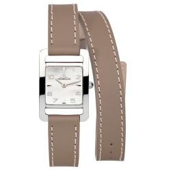 Michel herbelin 5e avenue femme carre acier double bracelet cuir