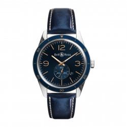 Bell&Ross Vintage automatique BR 123 aéronavale bleu bracelet cuir bleu