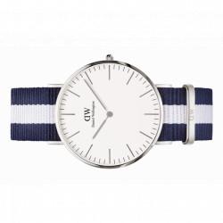 GLASGOW Classic 40 MM acier bracelet Nato blanc/bleu