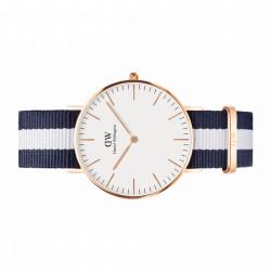 GLASGOW Classic 36 MM plaqué or rose bracelet Nato blanc/bleu