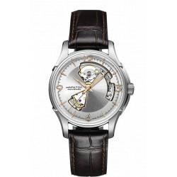 Hamilton Jazzmaster Open heart automatique fond gris bracelet cuir