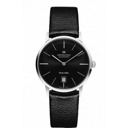 Hamilton Intra-matic 38mm automatique cadran noir bracelet cuir