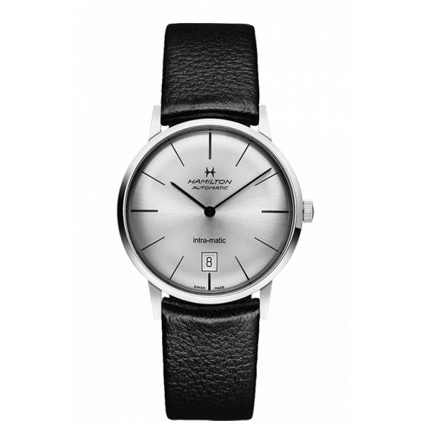 Hamilton intra-matic 38mm cadran gris automatique bracelet cuir