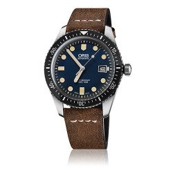 Oris diver sixty-five automatique 42 mm bleu bracelet cuir