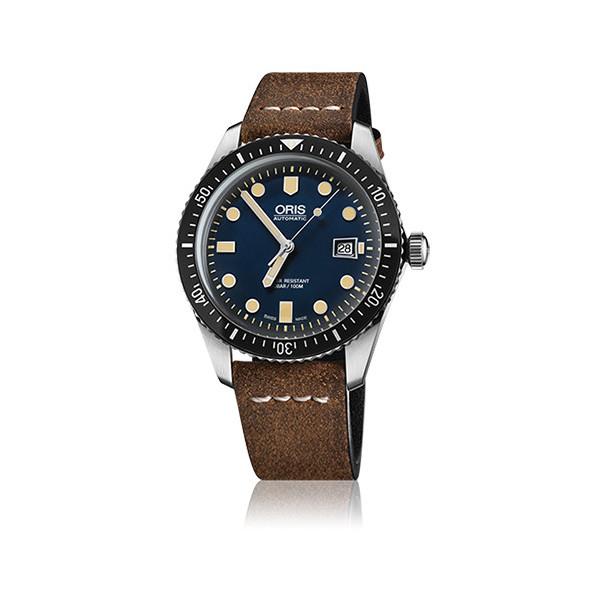 Oris diver sixty-five automatique 42 mm bleu bracelet cuir