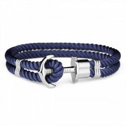 PAUL HEWITT PHREPS bracelet nylon bleu marine ancre plaqué argent