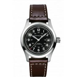 Hamilton khaki field 38mm automatique cadran noir bracelet cuir