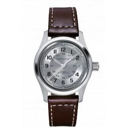 Hamilton khaki field 38mm automatique cadran gris bracelet cuir