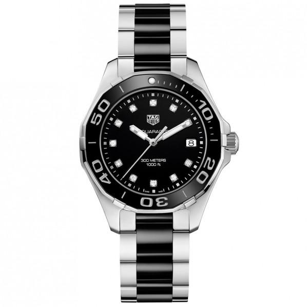 Tagheuer Aquaracer 300 M femme index diamants quartz bracelet acier/céramique 35 mm
