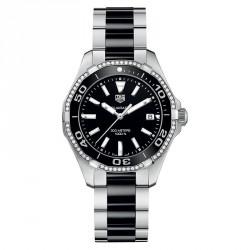 Tagheuer Aquaracer femme 300 m quartz bracelet acier/céramique 35 mm 60 diamants