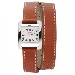Michel herbelin 5e avenue femme carre acier double bracelet cuir marron ref:17037/01ma