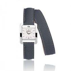MICHEL HERBELIN 5e avenue femme carre acier double bracelet cuir bleu