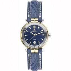 Michel herbelin newport femme acier bicolor bracelet cuir bleu
