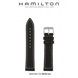 HAMILTON BRACELET CUIR 22/20 NOIR KHAKI FIELD